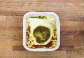 picture of pesto sauce  - pesto lasagna with pesto sauce and bechamel - JPG