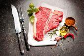 foto of t-bone steak  - Raw fresh meat T - JPG