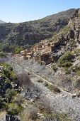 stock photo of oman  - The ghost town of Wadi Habib in the Jebel Akhdar Mountains of the Sultanate of Oman - JPG