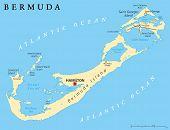 foto of political map  - Bermuda Political Map with capital Hamilton - JPG