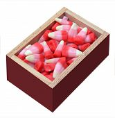 picture of valentine candy  - Valentine gift box of candy corn isolated on white background - JPG