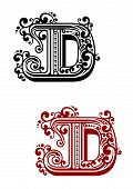 picture of letter d  - Ancient capital letter D with floral elements for calligraphy - JPG