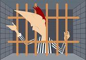 foto of lockups  - Cartoon prisoner stays behind bars and asks forgiveness - JPG