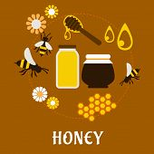 picture of honey bee hive  - Beekeeping and fresh Honey flat concept with flowers - JPG