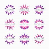 stock photo of symmetrical  - Simple pink geometric abstract symmetric shapes set - JPG