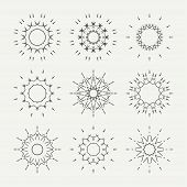 picture of symmetrical  - Simple monochrome geometric abstract symmetric shapes set - JPG