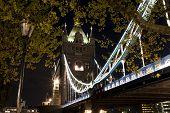 pic of london night  - The Tower bridge in London illuminated at night - JPG