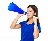 stock photo of yell  - Woman yell with loud speaker - JPG