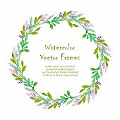 image of announcement  - Vector round frame with watercolor flowers on white background - JPG