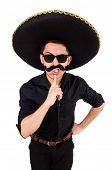 pic of sombrero  - Funny man wearing mexican sombrero hat isolated on white - JPG