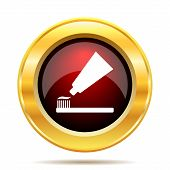 stock photo of gold tooth  - Tooth paste and brush icon - JPG