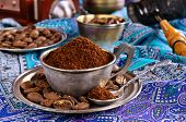 foto of coffee grounds  - Ground coffee is in a metal Cup - JPG