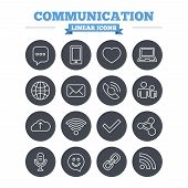 stock photo of fi  - Communication linear icons set - JPG