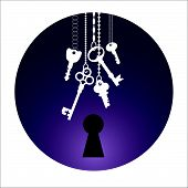 stock photo of key  - Illustrations of the keys and keyhole in circle - JPG