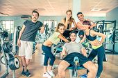 picture of sportive  - Group of sportive people in a gym  - JPG