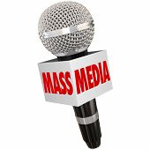 image of mass media  - Mass Media words on a microphone box to illustrate interviews and reporting on tv - JPG