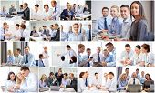 success concept - collage with many business people poster