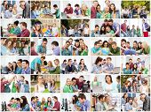 education concept - collage with many pictures of students in college, university or high school poster