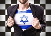 image of israel people  - Businessman stretching suit with Israel on checkered background - JPG