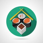 foto of soy sauce  - Single green round flat color style vector icon for sushi serving set with soy sauce and chopsticks on gray background - JPG