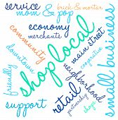 image of local shop  - Shop local word cloud on a white background - JPG