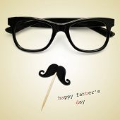 foto of moustache  - the sentence happy fathers day - JPG