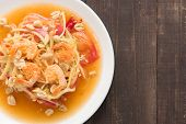 stock photo of green papaya salad  - Papaya salad thai food on wooden background - JPG