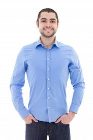 image of arab man  - handsome arabic business man in blue shirt isolated on white background - JPG