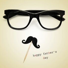 stock photo of moustache  - the sentence happy fathers day - JPG