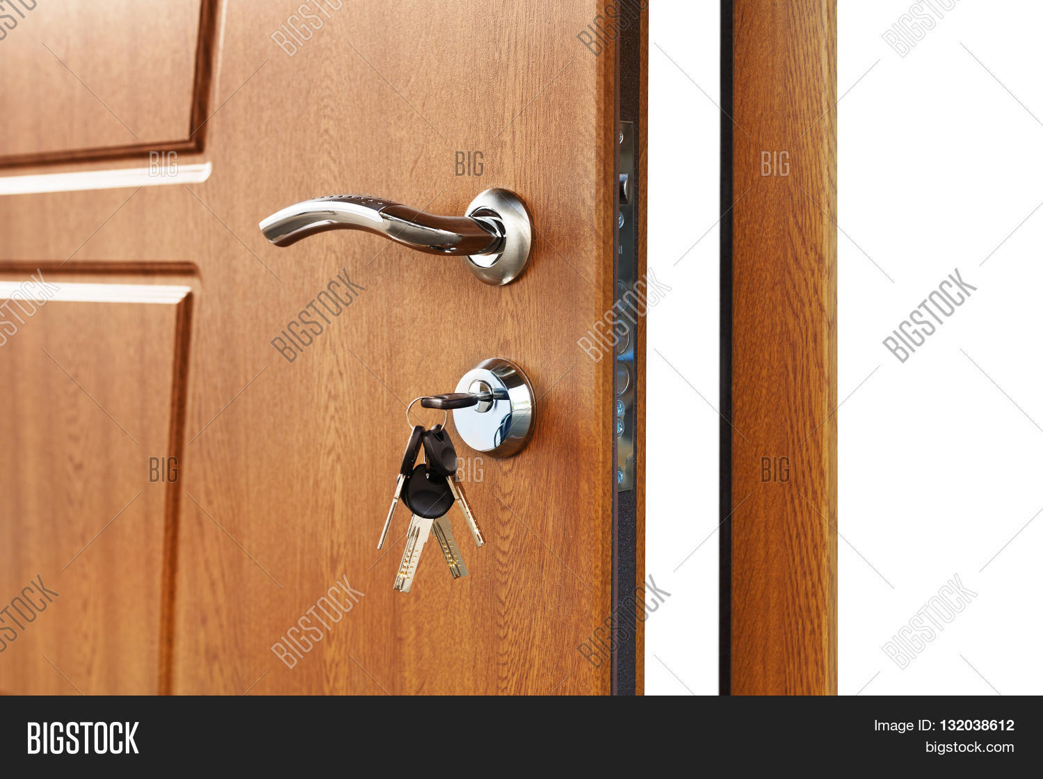 Open Door Handle. Door Lock With Keys. Brown Wooden Door