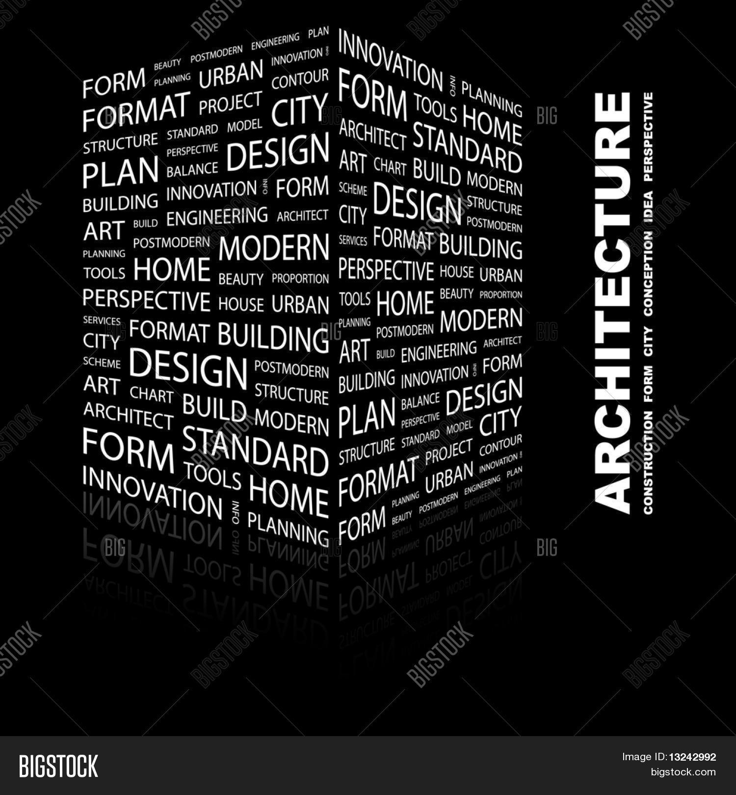 Architecture Word Collage On Black Background Illustration With