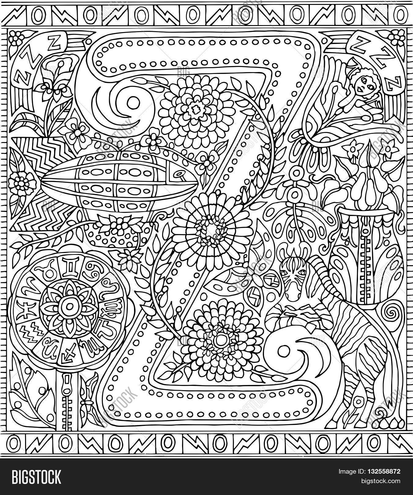 The coloring book poster - Adult Coloring Book Poster Alphabet Letter Z Black And White Vector Illustration