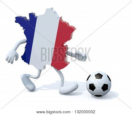 french map with arms legs running with a football 3d illustration