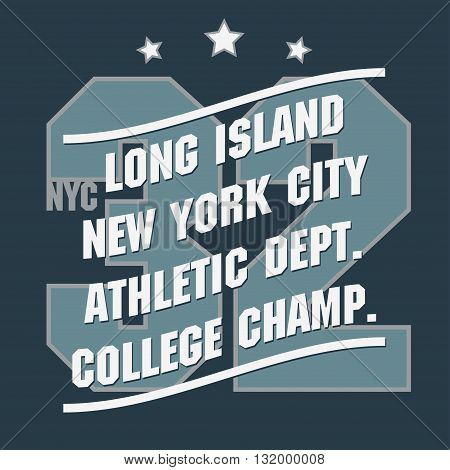 New York Sport wear typography emblem, t-shirt stamp graphics, vintage tee print, athletic apparel design fashion clothes. Vector