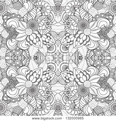 stock vector seamless doodle floral pattern. black and white