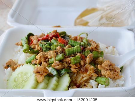 spicy stir fried chicken with basil leaf on rice in foam box for take home