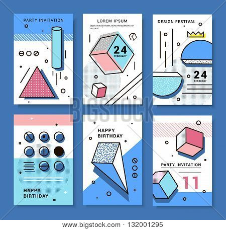 A set of cards with geometric elements Memphis. Bright composition hipster party festival birthday card.