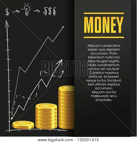 Money poster or banner design template with golden coins and copy space for text. Vector illustration. Money making. Bank deposit. Financials. Gold and black colors. Business finans vector background.