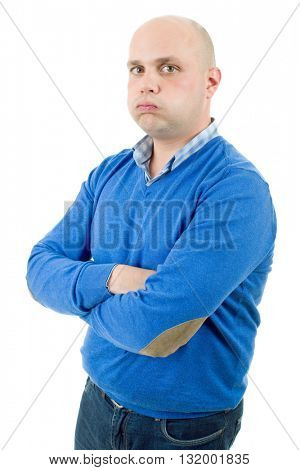 young casual bored man, isolated on white background
