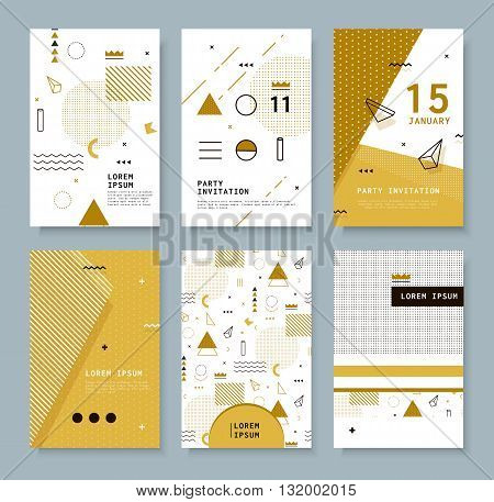 Set invitation with geometric shapes. Covers for books postcards notebooks oboknoty magazines. Hipster posters.