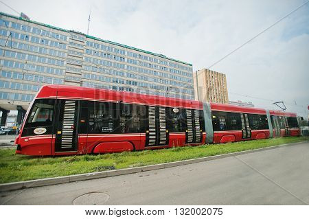 Katowice, Poland - October 24, 2014: Red Tram Moving On The Way