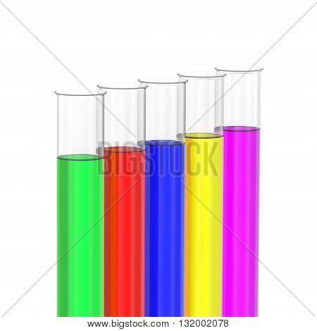 Test tubes with colored liquids on white background. 3D rendering.