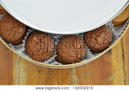 butter cookie in metal box on table