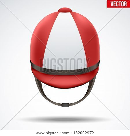 Classic Red Jockey helmet for horseriding athlete. Front view of Sport equipment. Vector Illustration isolated on a white background.