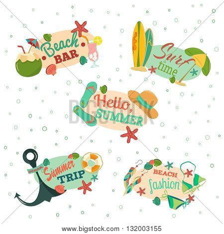Beautiful vintage emblems. Retro beach emblems.Retro summer vacation set with hand drawn flip flops, sun glasses, beach ball, sea star, sea shells, beach umbrella, surf, star, cockails, coconut