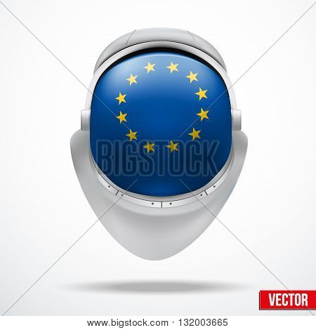 Astronaut helmet with big glass with flag Europe Union reflecting on visor glass. Vector Illustration Isolated on White Background
