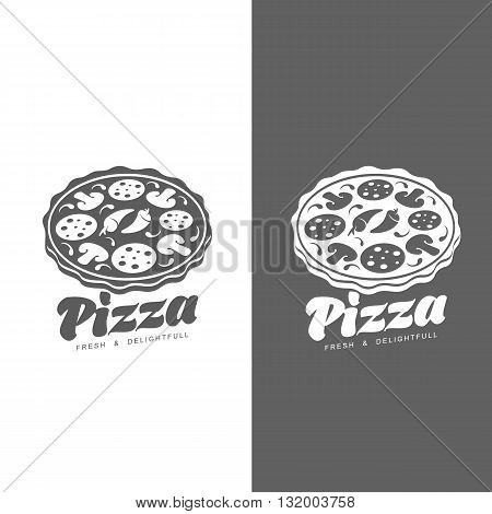 Logo pizza, fast food, monochrome badge pizza, pizza with mushrooms, salami, in the oven, slice of pizza with peppers, hot Italian fast food, label for food products, cafe, restaurant