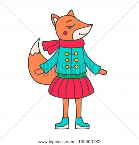 Winter fox girl. Hand drawn doodle fox in winter clothes. Cute fox for kids design. Vector. Isolated.