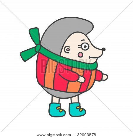Winter hedgehog. Hand drawn doodle hedgehog in winter clothes. Cute hedgehog for kids design. Vector. Isolated.