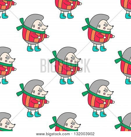 Winter hedgehog. Pattern with hand drawn doodle hedgehog in winter clothes. Cute hedgehog for kids design. Vector. Isolated.